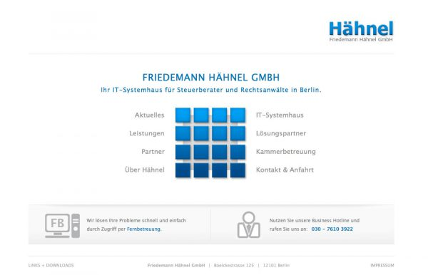 Haehnel IT Webdesign Startseite