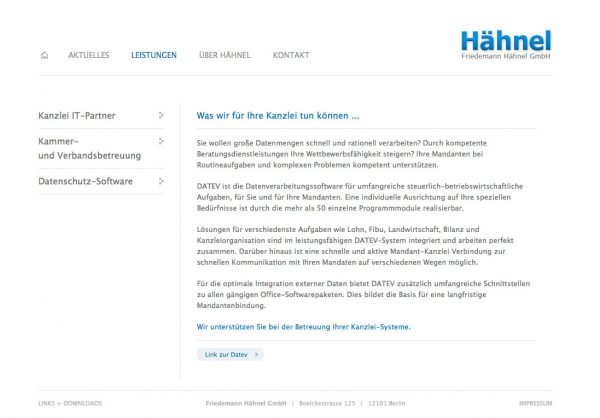 Haehnel IT Webdesign Unterseite