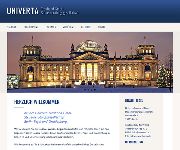 Univerta Homepage Webdesign