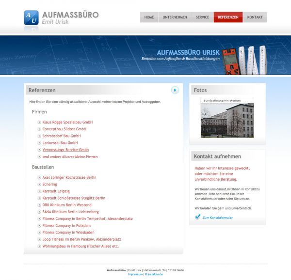 Website Referenzen Aufmass Urisk